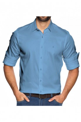 Camisa Slim Fundamental Azul