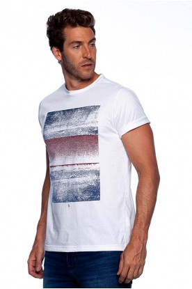 Camiseta Casual Branca Estampa Frontal