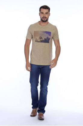 Camiseta Casual Flame Estampada Bege