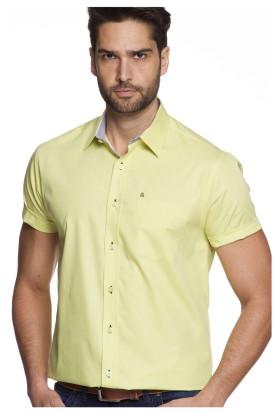 Camisa Casual Algodão Manga Curta Verde Pera