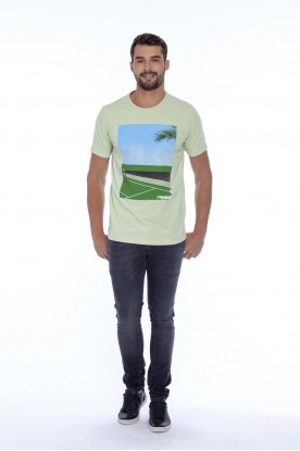 Camiseta Casual Estampada Verde