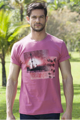 Camiseta Casual Rosa Estampada