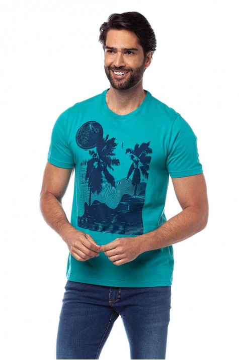 Camiseta Casual Verde Estampada
