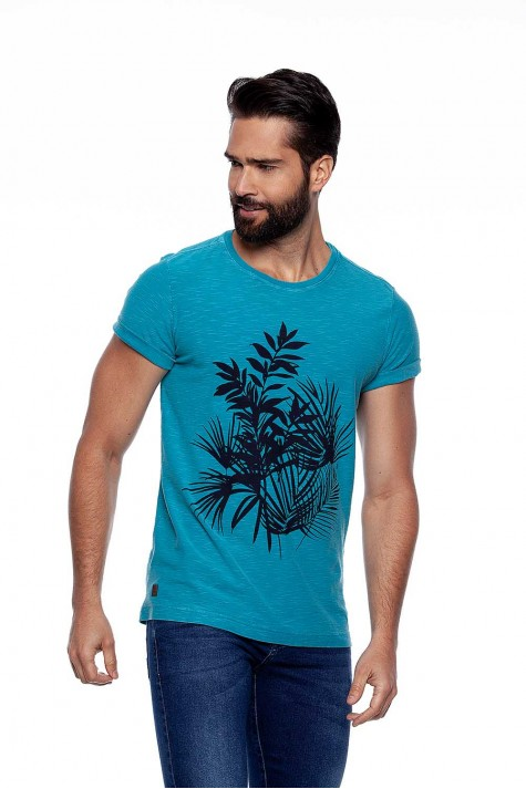 Camiseta Casual Flamê Verde Estampada