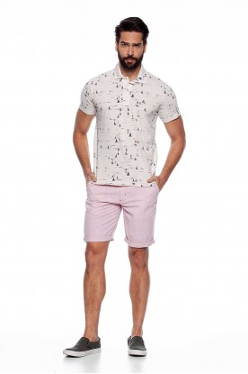 Polo Masculina Microprint Casual