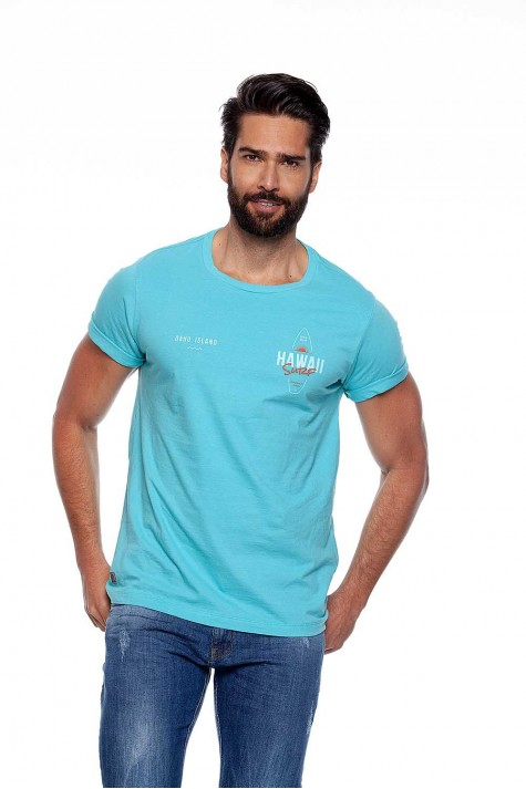 Camiseta Casual Manga Curta Azul Hawaii Surf