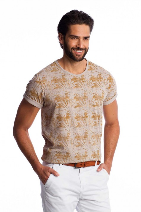 Camiseta Bege Estampada Casual