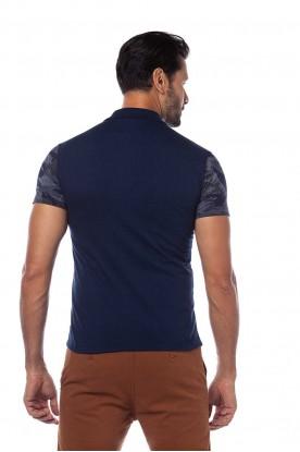 Polo Slim Masculina Estampada Azul