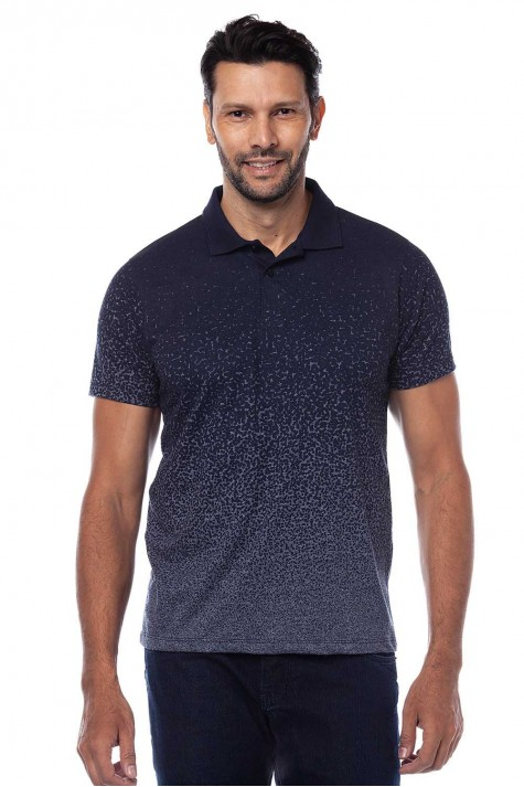 Polo Azul Estampada Casual