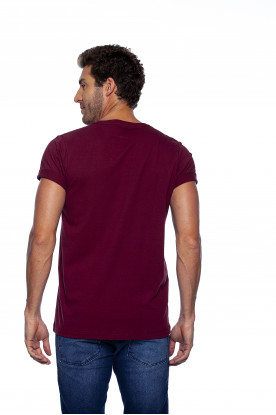 Camiseta Casual Bordô Estampada