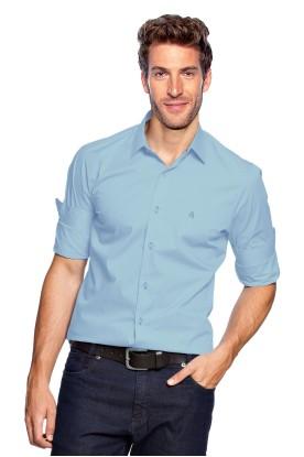 Camisa Slim Básica Azul