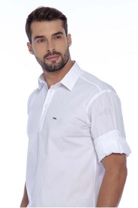 Camisa Casual Manga Longa Tricoline Branca