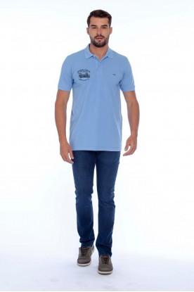 Polo Casual Piquet Tinturada Azul