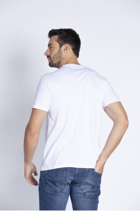 Camiseta Casual Flamê Branca Estampada