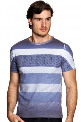 Camiseta Slim Fit Estampada Azul