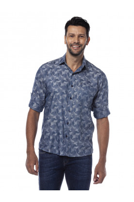 Camisa Casual Manga Longa Degradê Estampada