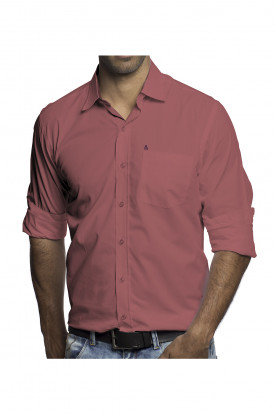 Camisa Casual Manga Longa Coral Escuro