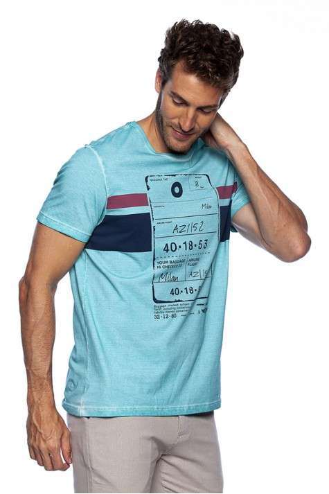 Camiseta Casual Sublimada Azul Piscina Estampada