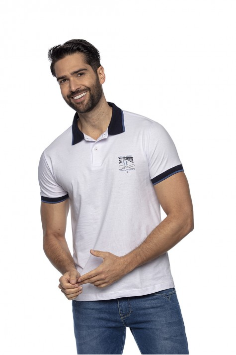 Polo Casual Estampada Branca