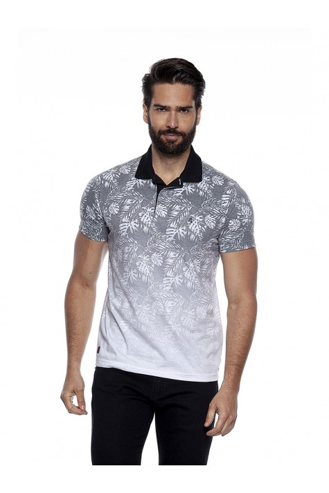 Polo Casual Sublimada Branca Floral