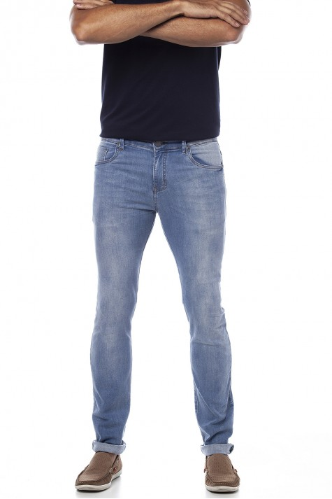 Calça Slim Jeans Destroyer com Elastano