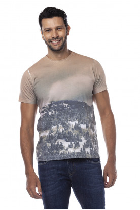 Camiseta Casual Sublimada Bege